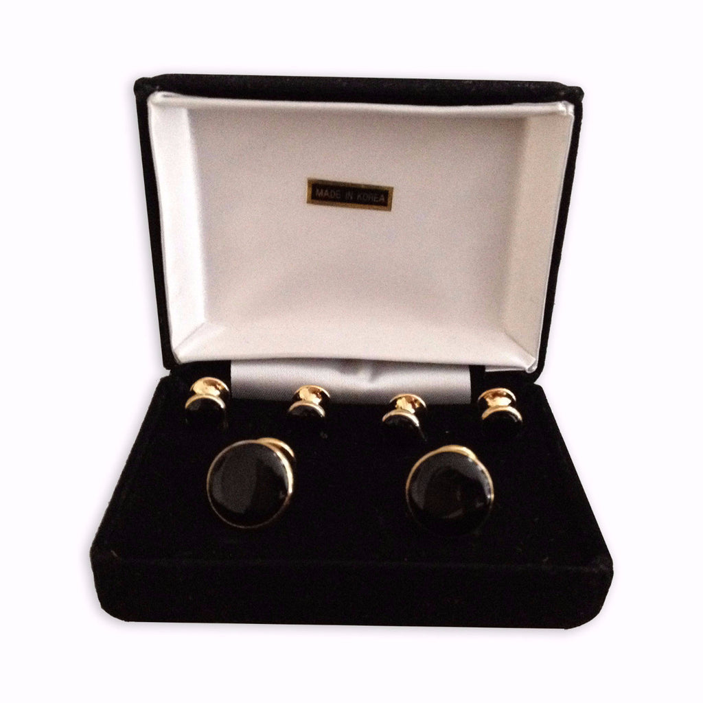 Gold Plated Cuff Links & Stud Boxed Set