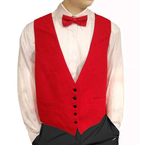 Mens Red 5 Button Vest Reverses to Black