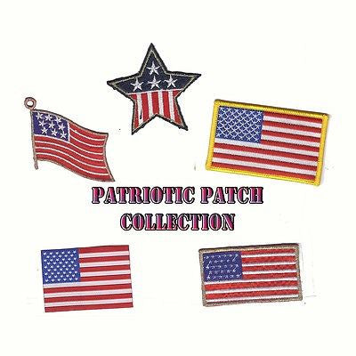 Patriotic Iron-On Embroidered 25 Patch Collection