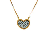 Sparkling Cubic Zirconia Black Hammered Heart Pendant Necklace in Vermeil, 15 + 2