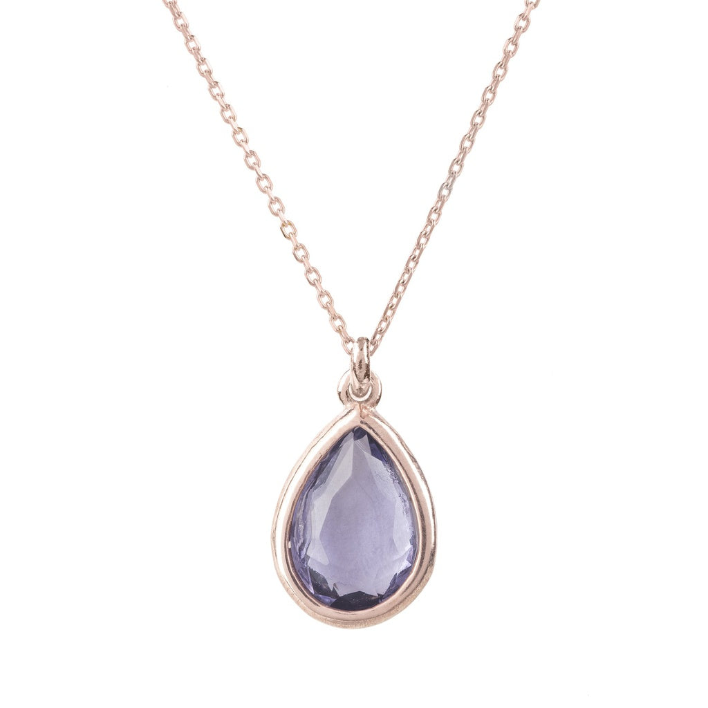 Pisa Mini Teardrop Necklace Rosegold Amethyst