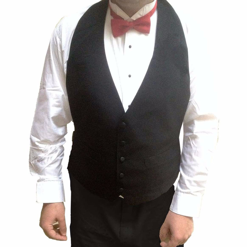 Mens Black Cloth Backless Tuxedo Vest