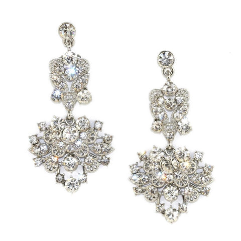 Cascading Floral Gem Chandelier Earrings