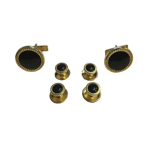 One Set of Studs & Cuff Links in Velvet Gift Box - Gold set