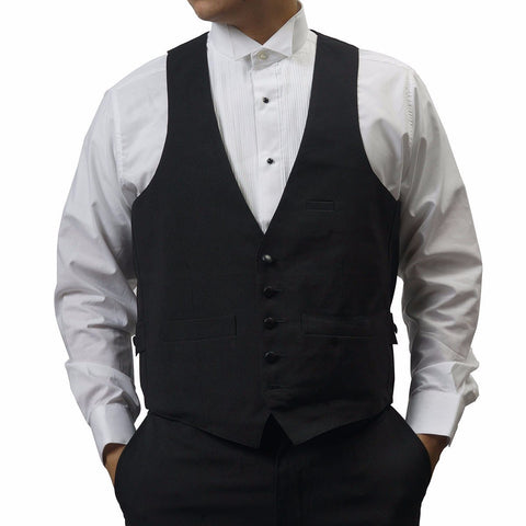 Men's Black Tuxedo Vest w/inside Pocket, 5 Buttons