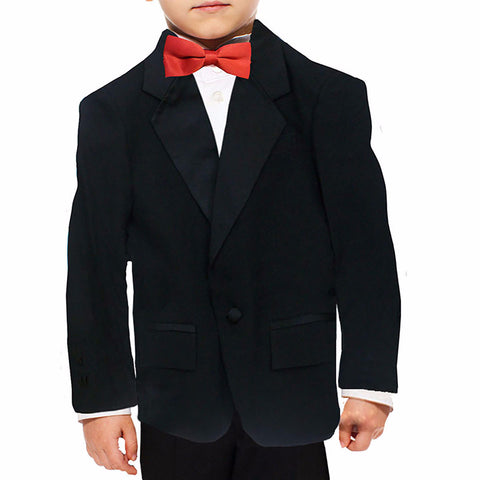 Boys Tuxedo Jacket with Notch Collar and Flap Pockets
