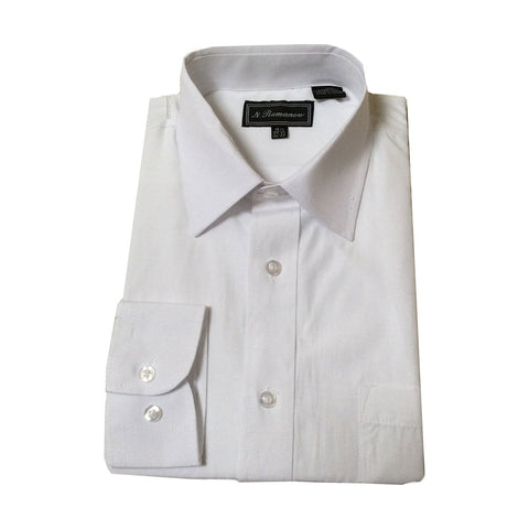 Mens White Long Sleeve Dress Shirt with Pocket