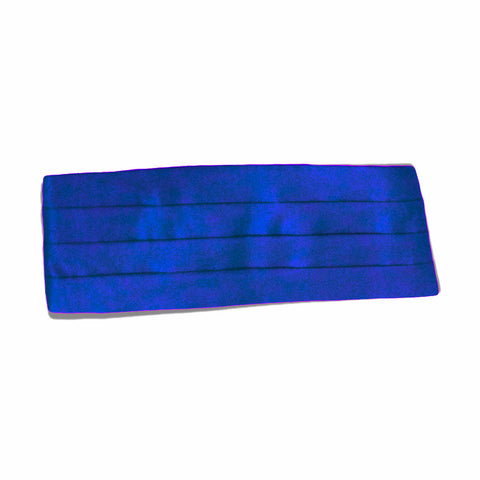 Mens Royal Blue Satin-Look Pleated Cummerbund