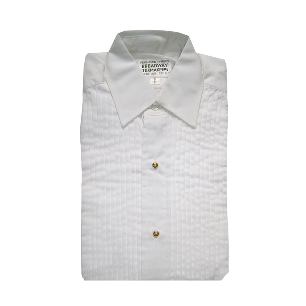 "Boys White Tuxedo Shirt with Lay Down Collar and 1/4"" Pleats"