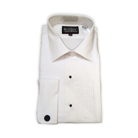 "Mens 100% Cotton Tuxedo Shirt, Lay Down Collar & 1/4"" Pleats"