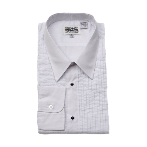 "Mens White Tuxedo Shirt w/Lay Down Collar & 1/4"" Pleats"