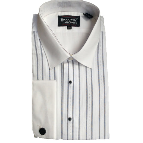 Tuxedo Shirt, White w/Black & Silver Stripes