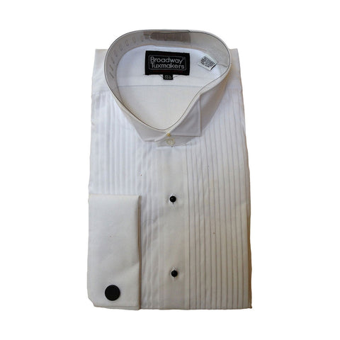 "Mens 100% Cotton Tuxedo Shirt, Wing Collar & 1/4"" Pleats"