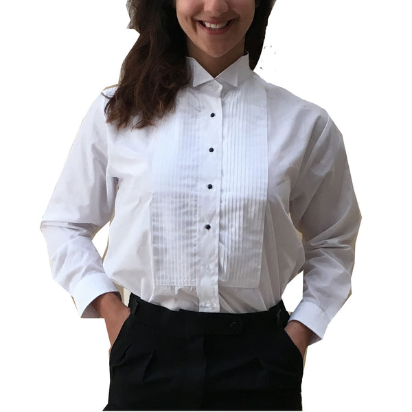 new styles the best attitude price remains stable One Dozen Women's White Tuxedo Shirts with Wing Collar and 1/4