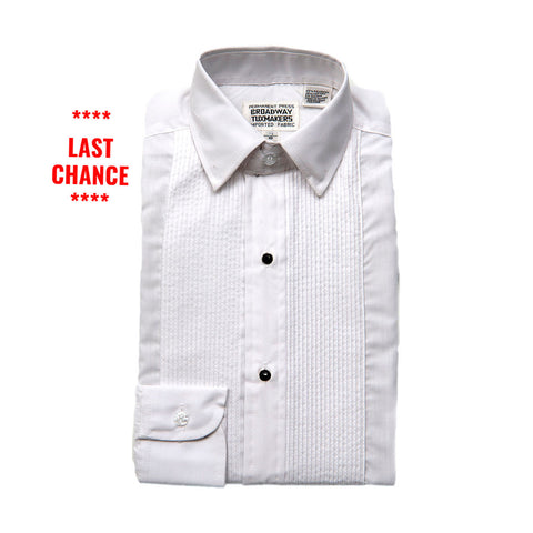 "Kids Tuxedo Shirts with Lay Down Collar & 1/8"" Pleats"