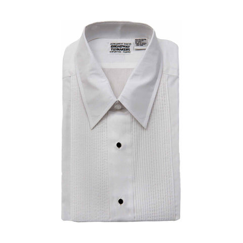"Mens White Tuxedo Shirt, Lay Down Collar & 1/8"" Pleats"