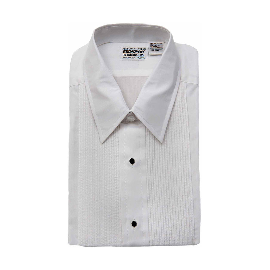 "Boys White Tuxedo Shirt with Lay Down Collar, 1/8"" Pleats"