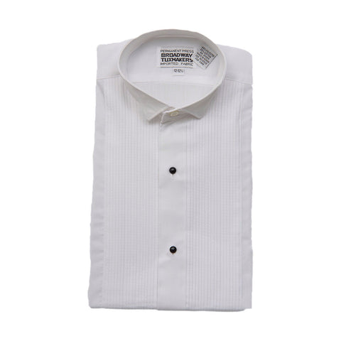 "Boys White Tuxedo Shirt with Wing Collar and 1/8"" Pleats"