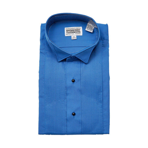 "Boys Royal Blue Tuxedo Shirt with Wing Collar and 1/8"" Pleats"