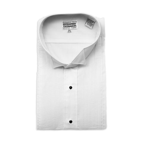 "Mens White Tuxedo Shirt, Wing Collar & 1/8"" Pleats"