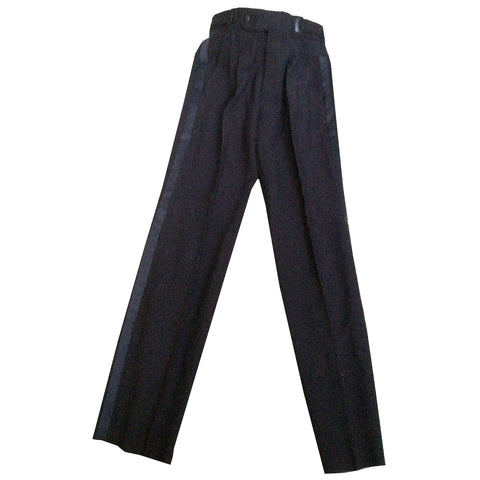 Boys Black Pleated Adjustable Tuxedo Pants