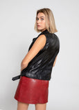 Womens Liana Black Leather Vest