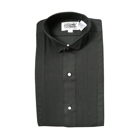 "Boys Black Tuxedo Shirt with Wing Collar and 1/8"" Pleats"