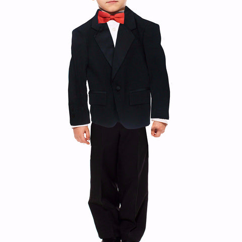 Boys 2 Piece Polyester Tuxedo Suit, with Notch Collar