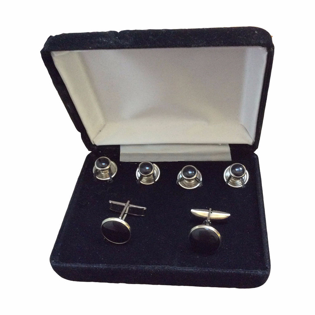 Silver Cuff Links & Stud Set with Black Inserts