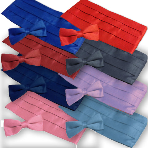 Mens Cornflower Satin-Look Pleated Cummerbund