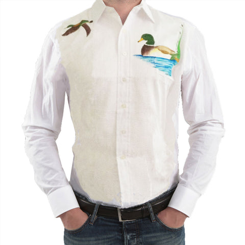 Mens Tuxedo Shirt with Screen Printed Ducks