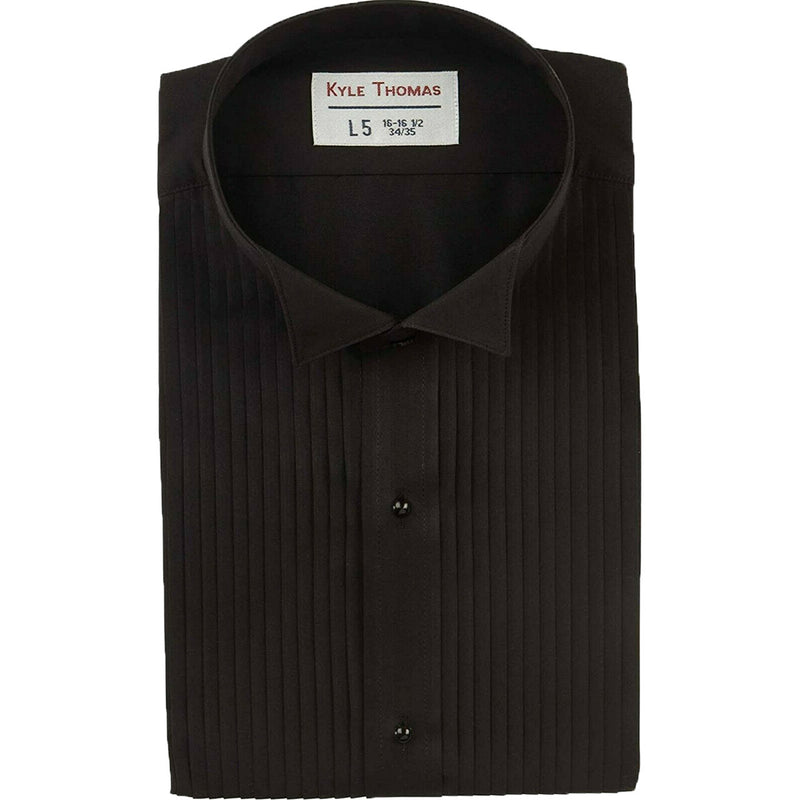 "Men's Black Tuxedo Shirt with 1/4"" Pleats and Wing Collar"
