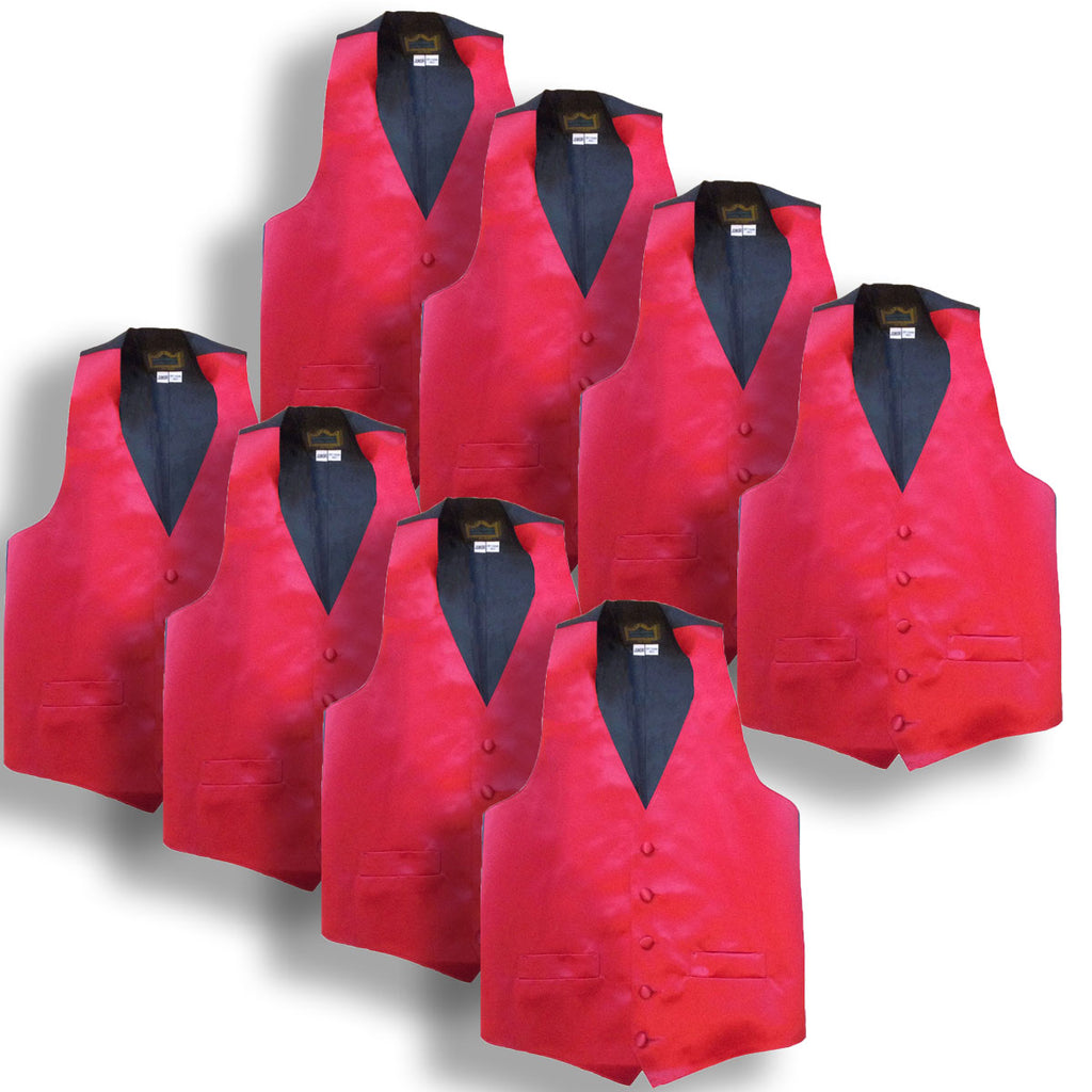 Lot of Two Dozen (24) Juniors Red Tuxedo Vests