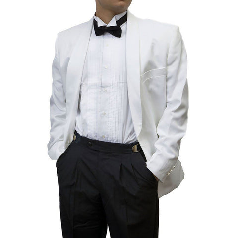 Mens 2 Piece White Dinner Jacket & Black Tuxedo Pants