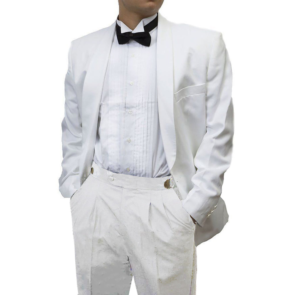 Mens 2 Piece White Dinner Jacket & Matching White Pants