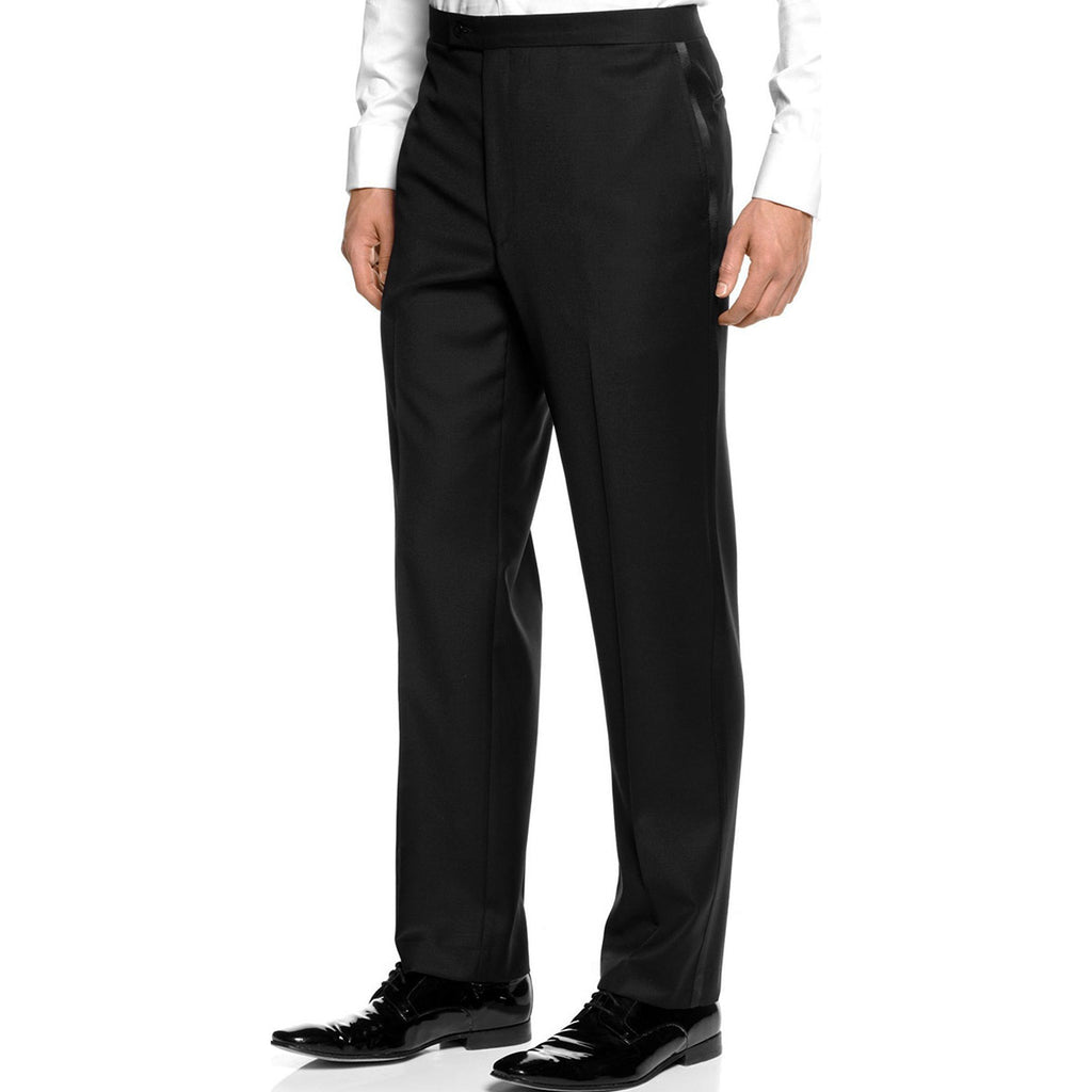 Mens Black Adjustable Tuxedo Pants,100% Wool