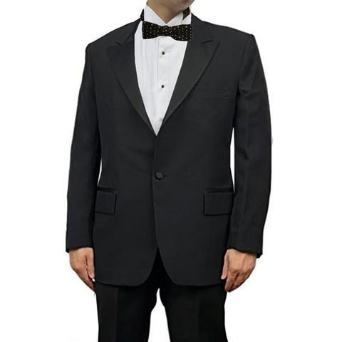 Men's Black Peak Collar Tuxedo Jacket,  100% Wool