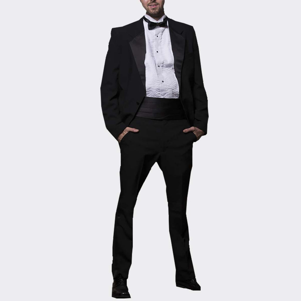 Mens 5 Piece Polyester Tuxedo with Shirt, Bow Tie & Cummerbund
