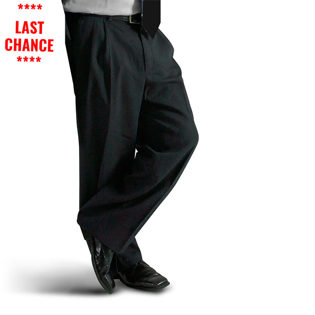 Mens Black Pleated Dress Pants