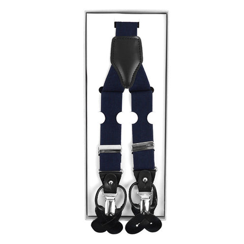 Convertible Button or Clip-On Suspenders with Leather Trim (Black)
