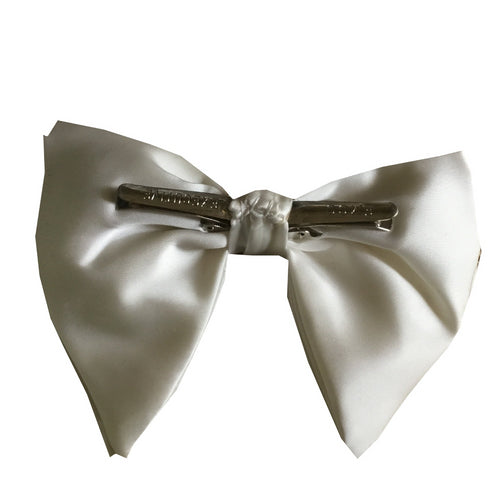 Vintage Large White Satin Clip On Bow Tie 1970's