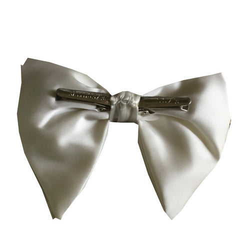 1970s Large White Satin Clip On Bow Tie