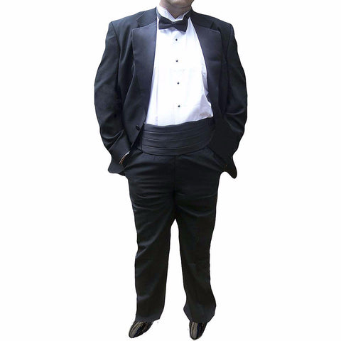 Mens 5 Piece 100% Wool Tuxedo with Shirt, Bow Tie & Cummerbund