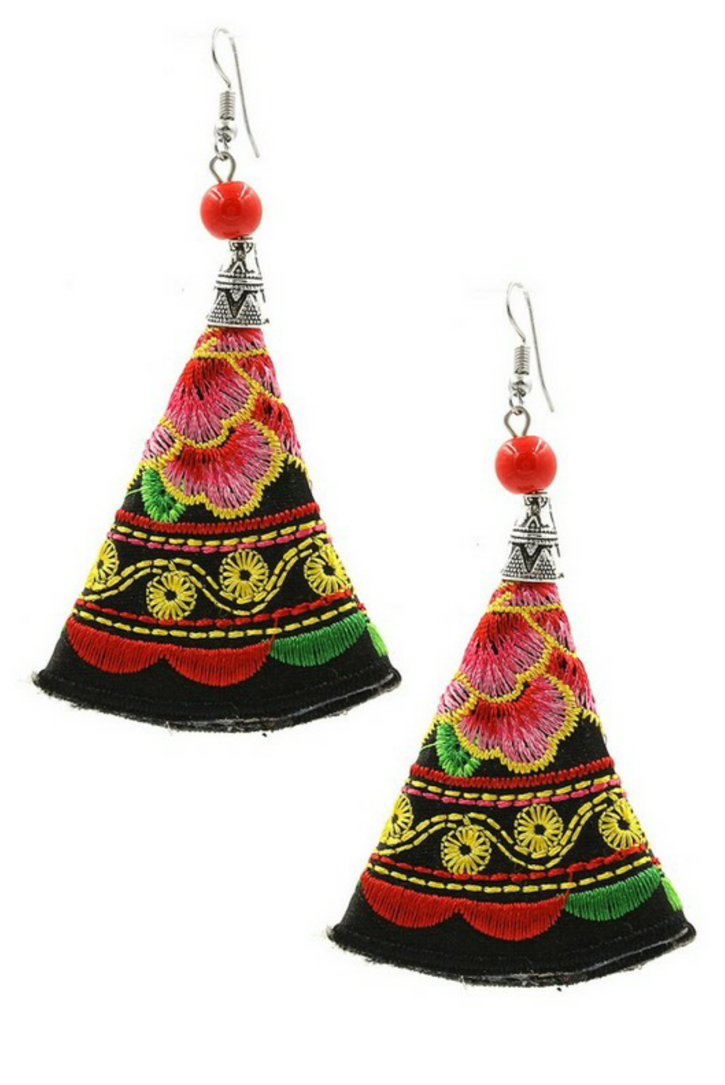 Embroidered Fan Earrings