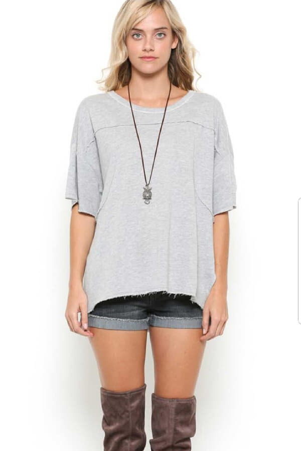 Grey French Terry Pullover Top