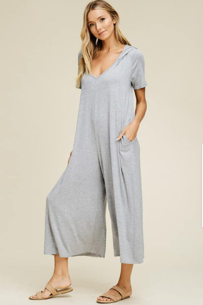 Heather Grey Capri Palazzo Hoodie Jumpsuit