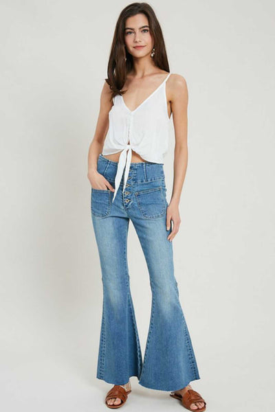 Back Buckle Flare Jeans