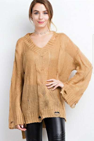 Caramel Distressed Sweater