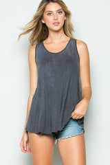 Charcoal Mineral Washed Crisscrossed Back Tank