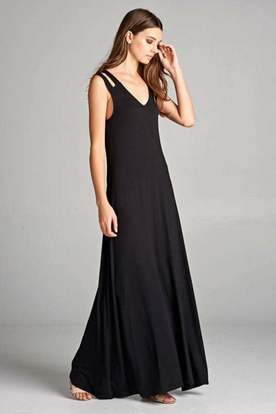 Double Strap Black Maxi Dress